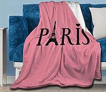 Paris Eiffel Tower Pink Throw Blanket Flannel