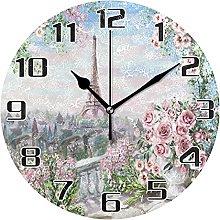Paris Eiffel Tower Wall Clock Silent Non Ticking,