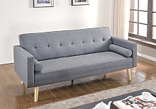 Paris Linen Fabric Sofa Bed In Light Grey