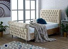 Parma Crushed Velvet Upholstered Bed Frame (Gold (