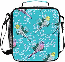 Parrot Budgie Bird Pattern Turquoise Lunch Bag