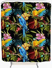 Parrot Leaves Flower Shower Curtain Anti-Mould