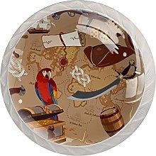 Parrot VoyageRound Glass knob White Drawer Handle,