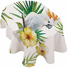 Parrots Decor Oval Tablecloth,Hibiscus with Bird