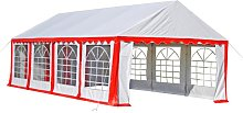 Party Tent 8 x 4 m Red - Red - Vidaxl