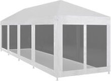 Party Tent with 10 Mesh Sidewalls 12x3 m - Black -