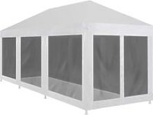 Party Tent with 8 Mesh Sidewalls 9x3 m - Black -