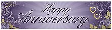 Partymoods Happy Anniversary Banner Annual Silver