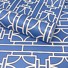 Paste The Wall - Blue and White Geometric Art Deco