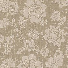 Paste The Wall - Bronze & Beige Distressed Floral