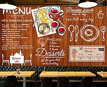 Paste The Wall Wallpaper Wooden Board Fast Food