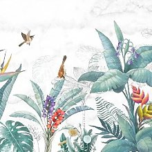 Pastel Garden Mural - Wallpaper Sample