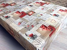 Patchwork Hearts Daisy Tablecloth White Red Grey