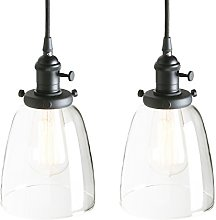 Pathson Set of 2 Industrial Edison Black Pendant