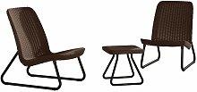Patio Furniture Set 3 Pieces Rio Cappuccino 218157