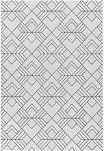 Patio Indoor/Outdoor Black & White Geometric Rug