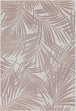 Patio Indoor/Outdoor Pink Leaves Design Rug