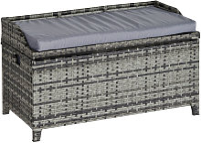 Patio Rattan Wicker Storage Basket Box Bench Seat