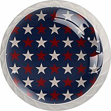 Patriotic Red White Stars Drawer Knobs Pulls