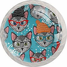 Pattern with Cat in Hat Set of 4 Drawer Knobs
