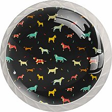 Pattern with Different Dog Breeds Set of 4 Drawer