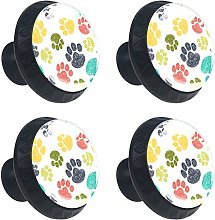 Pattern with Doodle Paw Prints Round Drawer Knob