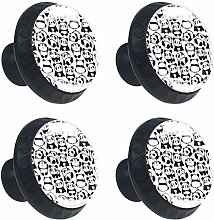 Pattern with Image of a Pandas Round Drawer Knob