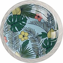 Pattern with-Palm-Leaves-Flowers-Retro-Style