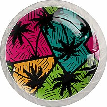 Pattern with Palm Trees Set of 4 Drawer Knobs