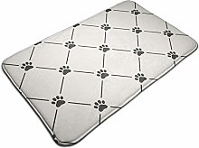 Pattern With Paw Prints Water Absorbent Bath Mats
