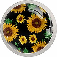 Pattern with Sunflowers Set of 4 Drawer Knobs