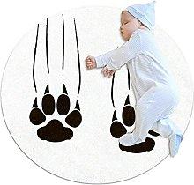 Paw White, Round Area Rug Pattern Round Children
