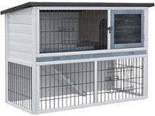 PawHut 2-Level Small Rabbit Hutch w/ House Outdoor