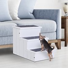 PawHut 3 Step Wooden Carpeted Pet Stairs Ramp for