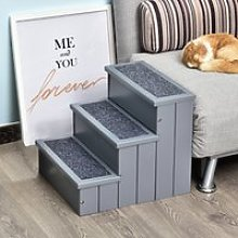 PawHut 3 Step Wooden Pet Stairs Steps Dog Stairs