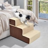 PawHut 3 Steps Padded Pet Stairs, Non Slip-Beige