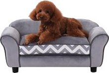 Pawhut 73.5Lx41Wx33H cm Pet Sofa-Grey/Black