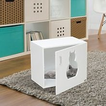 Pawhut Cat Litter Box Bathroom Furniture-White