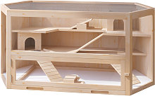 PawHut Large Wooden Hamster Cage Pet Small Animal
