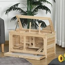 PawHut Large Wooden Hamster Cage Rodent Mouse Pet