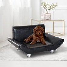 PawHut Pet Sofa Couch Bed, PU Leather, Wooden