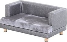 PawHut PU Leather Elevated Pet Dogs Sofa Bed Grey