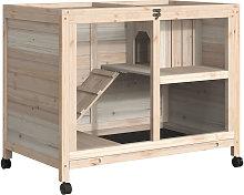 PawHut Solid Wood Small Animal Indoor Hutch w/