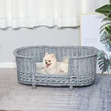 PawHut Wicker Dog Bed Basket Pet Sofa Cat Lounge