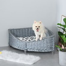 PawHut Wicker Dog Corner Basket Pet Bed Sofa Couch