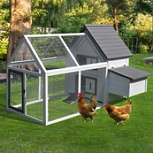 PawHut Wood Chicken Coop Pet Poultry Chicken House