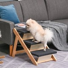 PawHut Wood Pet Stairs 2 In 1 Convertible Dog