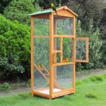 PawHut Wooden Bird Cage Birds Parrot Playing Zone