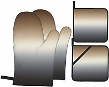 PbbrTK Oven Mitts and Pot Holders Sets of 4,Black