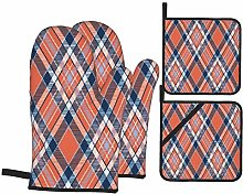 PbbrTK Oven Mitts and Pot Holders Sets of 4,Blue